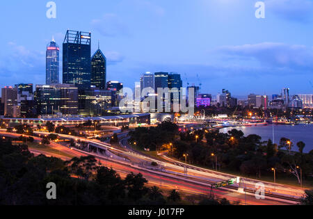 The City of Perth at Dusk, Australia - Stock Photo