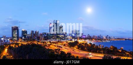 The City of Perth at Dusk, Australia - Stock Photo