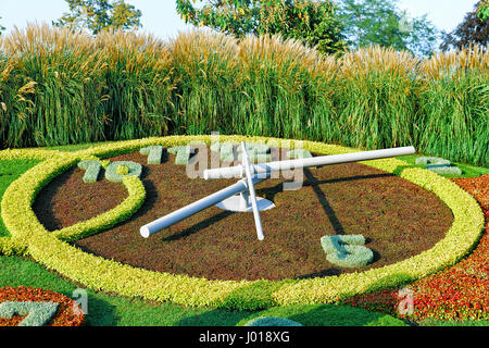 The flower clock at jardin anglais in geneva stock photo for Jardin in english