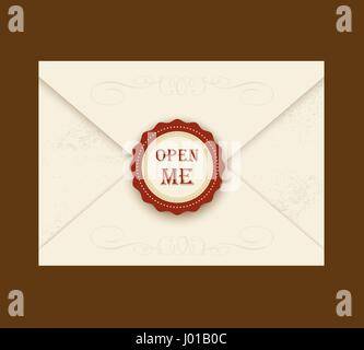 Envelope with rosette seal. Vector illustration. Quote Open me. ideal for invitation envelopes for a wedding or - Stock Photo