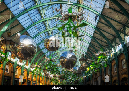 Christmas decorations at Covent Garden Market, central London Stock ...