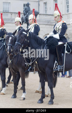 Sleeping soldier from the blues and royals on Horseguards parade ground London - Stock Photo