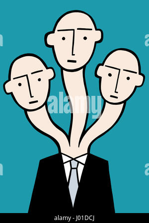 Three heads are always better. A business illustration about thinking different thoughts. - Stock Photo