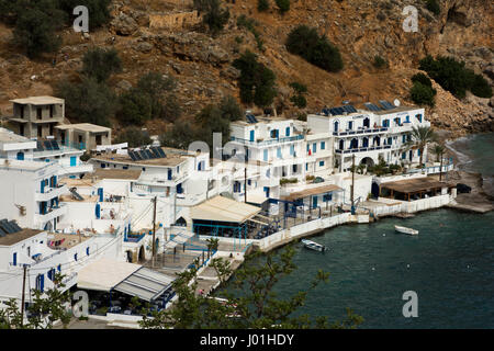 The fishing village Loutra at Crete's south coast has a very old history and turned into a touristic hotspot without - Stock Photo