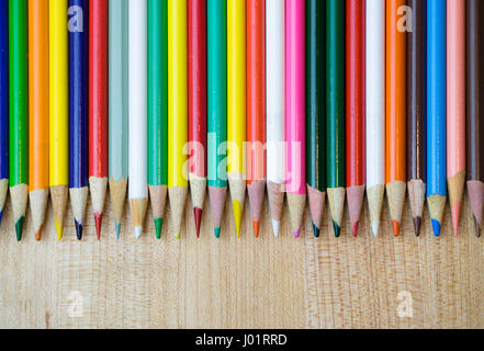 Various Colored Pencils in Row - Stock Photo