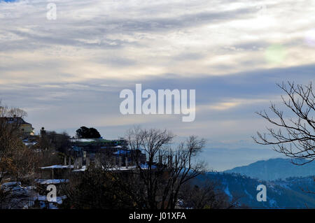 Houses on the top of the hill station - Stock Photo