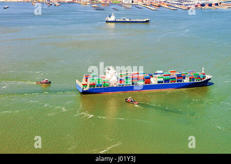 Aerial view of Bayonne Container Vessel, NJ, USA - Stock Photo