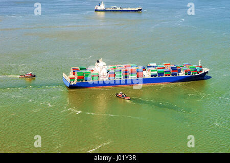 Aerial view on Bayonne Container Vessel, NJ, USA - Stock Photo