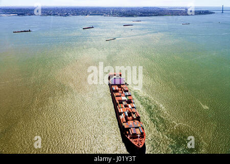Aerial view on Bayonne Containers Vessel, NJ, USA - Stock Photo