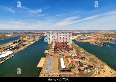 Aerial view on global container terminal in Bayonne, NJ, USA - Stock Photo