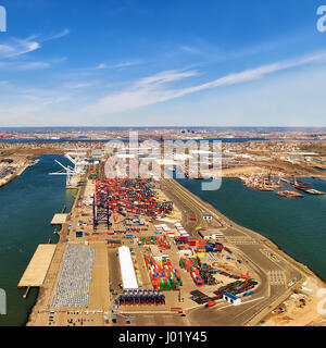 Aerial view to global container terminal in Bayonne, NJ, USA - Stock Photo