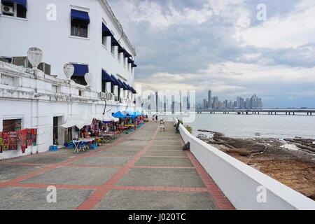 Coastal walkway around the plaza de Francia in the Casco Viejo, the old town of Panama City, Panama, Central America - Stock Photo