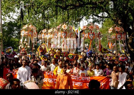Mangal Shobhajatra, a colourful and festive procession celebrating Pahela Baishakh, the Bangla New Year 1413, sets - Stock Photo