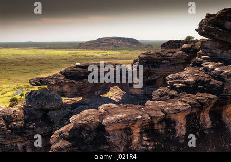 Dusk at the top of Ubirr rock looking down at the Nadab floodplains. Northern Territory, Australia - Stock Photo