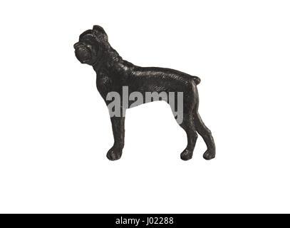 Black dog figure on white background, Boxer - Stock Photo