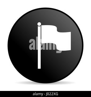 Flag black color web design round internet icon on white background. - Stock Photo
