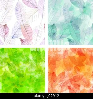 Set of vector backgrounds with skeleton leaves - Stock Photo