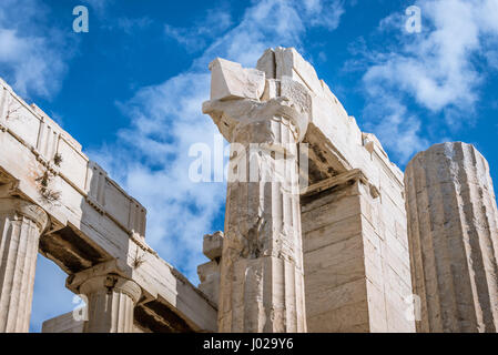 Close up on monumental gateway called Propylaea, entrance to the top of Acropolis of Athens city, Greece - Stock Photo