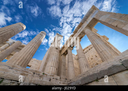 Monumental gateway called Propylaea, entrance to the top of Acropolis of Athens city, Greece - Stock Photo