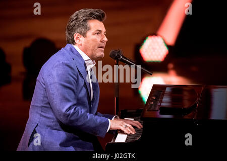 Magdeburg, Germany. 08th Apr, 2017. Singer Thomas Anders during the recording of the TV show 'Willkommen bei Carmen Nebel' (lt. 'Welcome to Carmen Nebel's') in the GETEC Arena in Magdeburg, Germany, 08 April 2017. The show will be broadcast 13 April 2017 at 20:15 pm on ZDF. - NO WIRE SERVICE- Photo: Andreas Lander/dpa/Alamy Live News Stock Photo
