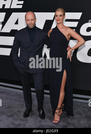 New York, USA. 8th April, 2017. Jason Statham and Rosie-Huntington-Whiteley attend 'The Fate Of The Furious' New - Stock Photo