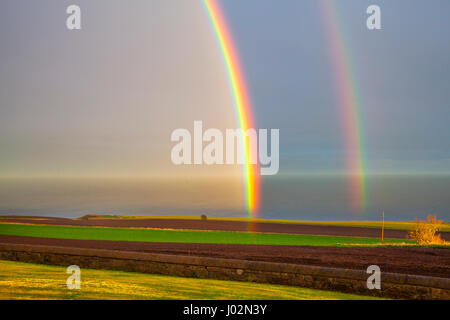 St Cyrus, Aberdeenshire, UK.  UK Weather.  9th March 2017. Heavy Showers & Double rainbows in Scotland, after England - Stock Photo