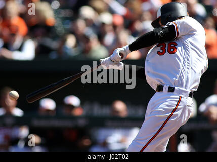 Baltimore, Maryland, USA. 09th Apr, 2017. Baltimore Orioles catcher Caleb Joseph (36) in action during a match between - Stock Photo