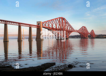 Forth Rail Bridge at dawn - Stock Photo