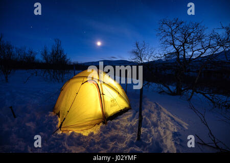 Ski touring in Abisko region and national park, Sweden, Europe - Stock Photo