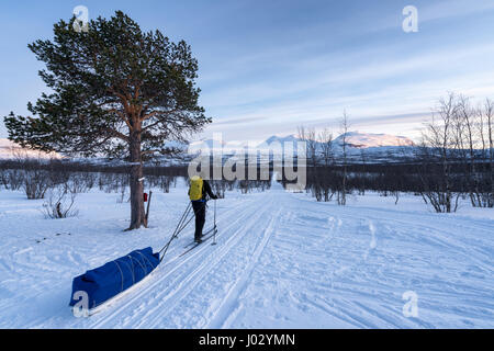 Ski touring in Abisko region and national park, Sweden, Europe - Stock Photo