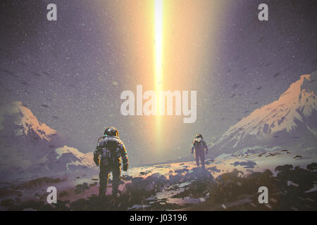 astronauts walking to mystery light beam from the sky, sci-fi concept, illustration painting - Stock Photo