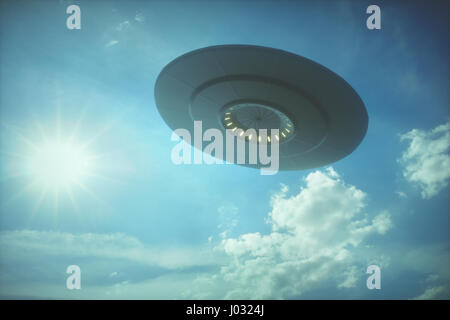 3D illustration with photography. Alien spaceship under the sun. - Stock Photo