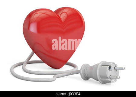 Red heart with electrical plug, 3D rendering isolated on white background - Stock Photo