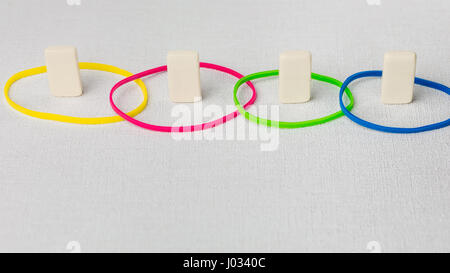 Personality traits concept based on colour types. Dominance, inducement, submission, and compliance. DISC. Domino - Stock Photo