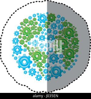 sticker colorful circular shape with pattern of pinions - Stock Photo
