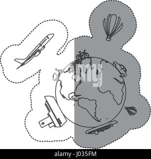 sticker contour of world with means of transport around - Stock Photo