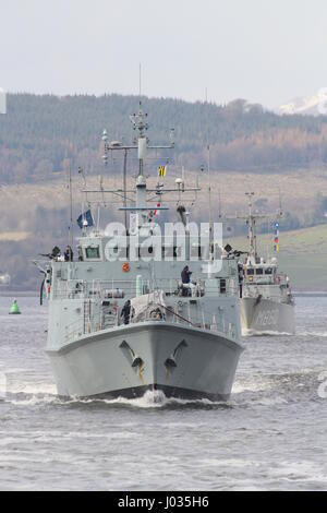 HMS Ramsey (M110) and HNLMS Schiedam (M860), passing Greenock on their arrival for Exercise Joint Warrior 17-1. - Stock Photo