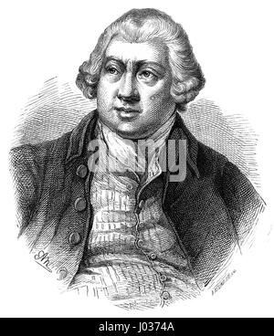Richard Arkwright (1732-1792). Inventing the spinning frame. Engraving. Nuestro Siglo, 1883. Spanish edition. - Stock Photo