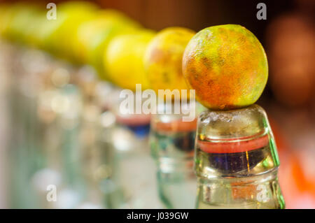 Bottles of locally made banta, an indian made soft drink that is very popular in the summer months. This is healthy, - Stock Photo