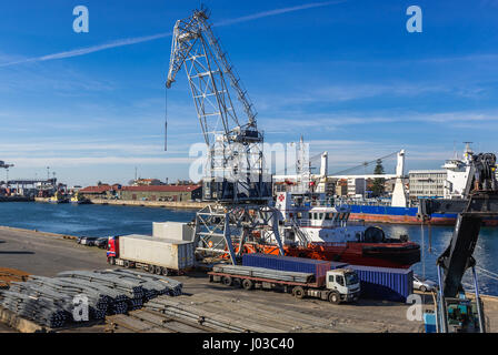 Port of Leixoes in Matosinhos city, bordered with Porto, part of Grande Porto subregion in Portugal. View from movable - Stock Photo