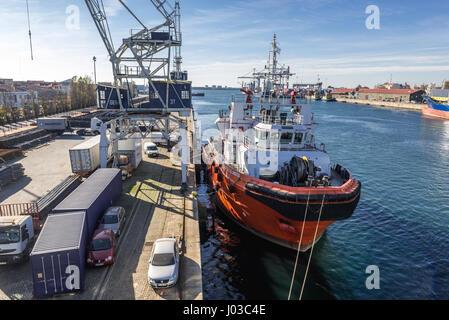 Castelo de Obidos tug boat in Port of Leixoes in Matosinhos city, bordered with Porto, part of Grande Porto subregion - Stock Photo