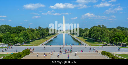Reflecting Pool and Washington Monument View from Lincoln Memorial stairs. Washington D.C.