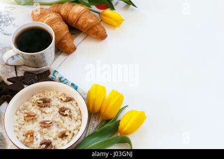 Healthy breakfast contained of different ingredients on a white background - Stock Photo