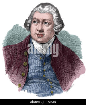 Richard Arkwright (1732-1792). Inventing the spinning frame. Engraving. Nuestro Siglo, 1883. Spanish edition. Color. - Stock Photo