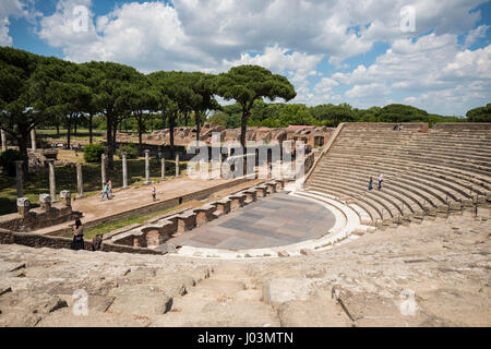 Rome. Italy. Ostia Antica. Roman Amphitheatre, dating from the Augustan era (1st century BC). Teatro Romano fu edificato - Stock Photo