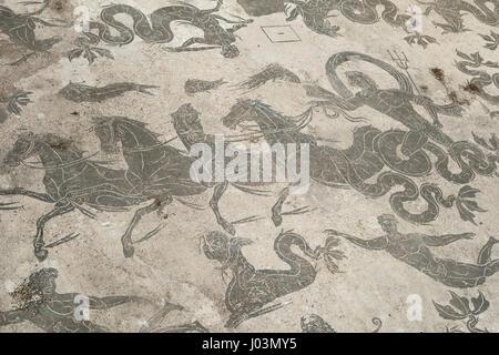 Rome. Italy. Ostia Antica. Mosaic of Neptune, floor decoration in the Baths of Neptune. Mosaico di Nettuno, Terme - Stock Photo
