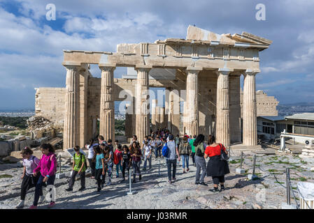 Facade of monumental gateway called Propylaea, entrance to the top of Acropolis of Athens city, Greece - Stock Photo