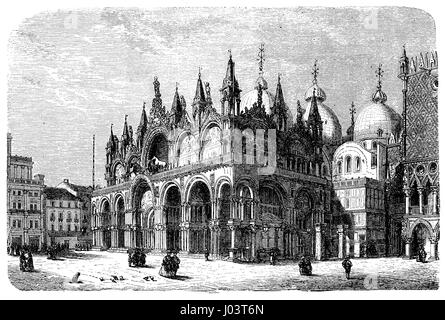 vintage engraving of Saint Mark's Basilica in Venice, Italy.Built from VIII century to XII in Italian Byzantine - Stock Photo