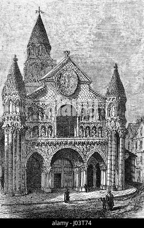 Vintage engraving of Notre-Dame la Grande, Roman Catholic church in Poitiers, France, masterpiece in High Romanesque - Stock Photo