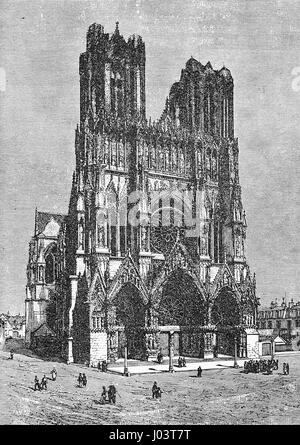vintage engraving of Notre-Dame de Reims cathedral in Reims, France, where the kins of France were crowned. Built - Stock Photo